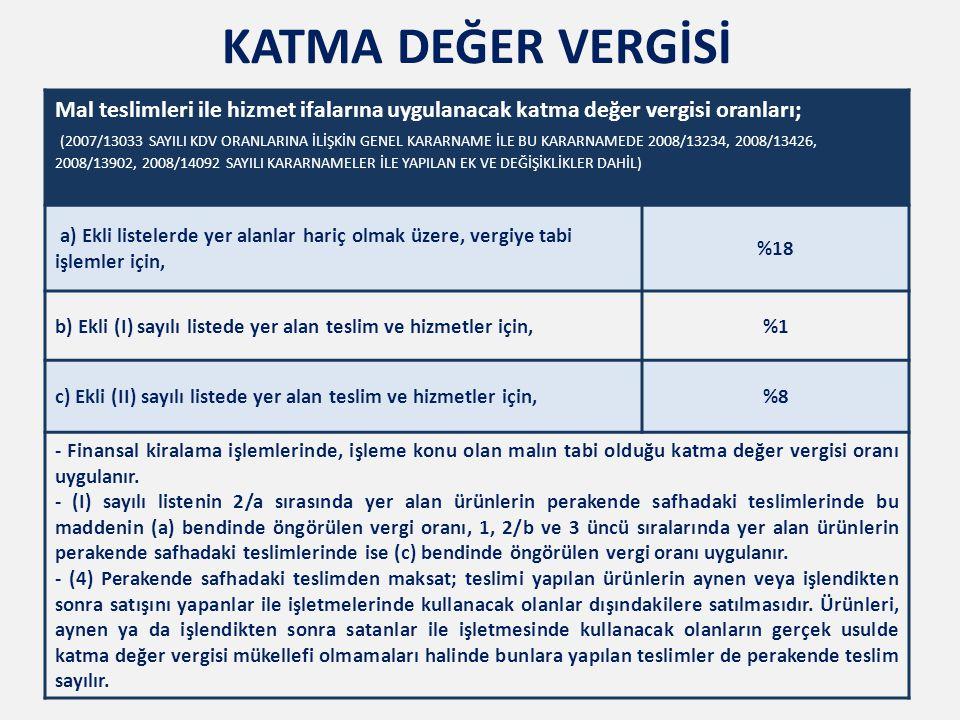 Mal teslimleri ile hizmet ifalarına uygulanacak katma değer vergisi oranları; (2007/13033 SAYILI KDV ORANLARINA İLİŞKİN GENEL KARARNAME İLE BU KARARNAMEDE 2008/13234, 2008/13426, 2008/13902, 2008/14092 SAYILI KARARNAMELER İLE YAPILAN EK VE DEĞİŞİKLİKLER DAHİL) a) Ekli listelerde yer alanlar hariç olmak üzere, vergiye tabi işlemler için, %18 b) Ekli (I) sayılı listede yer alan teslim ve hizmetler için,%1 c) Ekli (II) sayılı listede yer alan teslim ve hizmetler için,%8 - Finansal kiralama işlemlerinde, işleme konu olan malın tabi olduğu katma değer vergisi oranı uygulanır.
