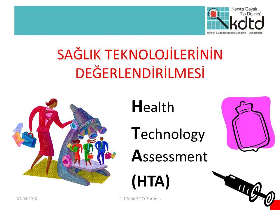 SAĞLIK TEKNOLOJİLERİNİN DEĞERLENDİRİLMESİ H ealth T echnology A ssessment (HTA) 04.03.2010132. Ulusal STD Forumu