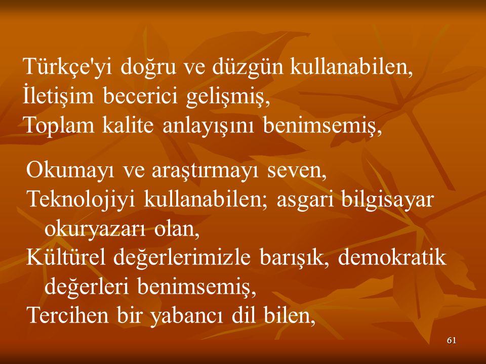 61 Türkçe'yi doğru ve düzgün kullanabilen, İletişim becerici gelişmiş, Toplam kalite anlayışını benimsemiş, Okumayı ve araştırmayı seven, Teknolojiyi