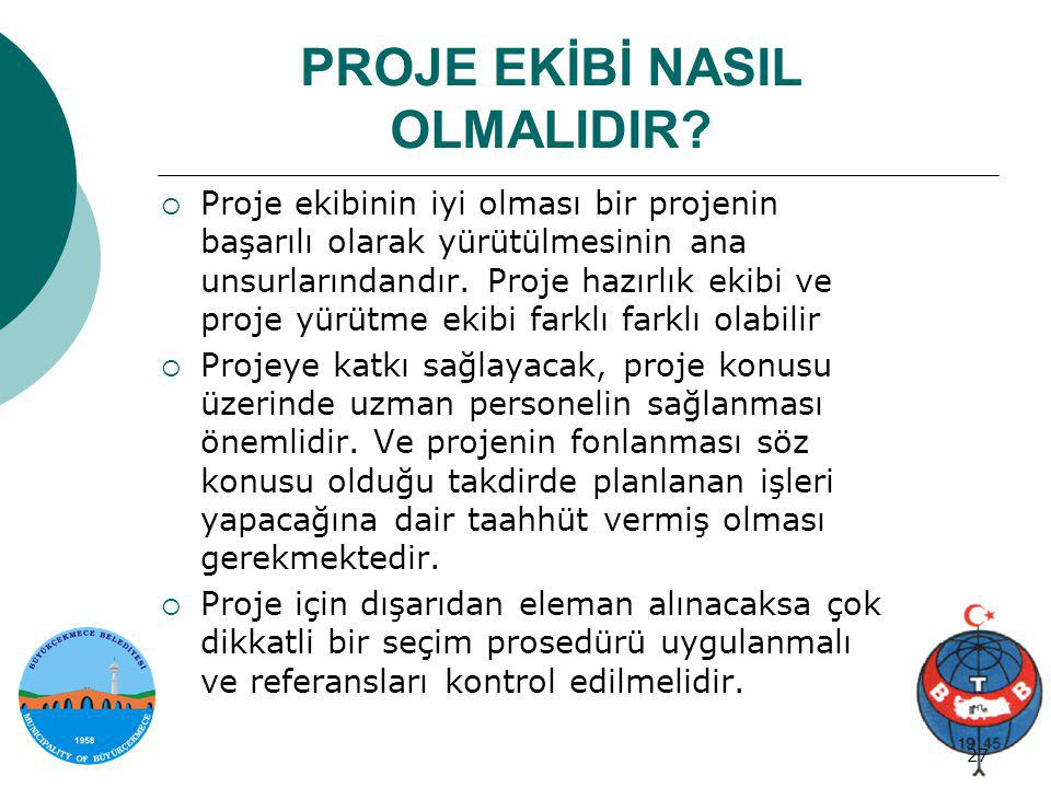 Proje genel bilgi 27/34 27 PROJE EKİBİ NASIL OLMALIDIR?  Proje ekibinin iyi olması bir projenin başarılı olarak yürütülmesinin ana unsurlarındandır.