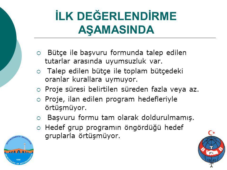Proje genel bilgi 34/34 34 İLK DEĞERLENDİRME AŞAMASINDA  Bütçe ile başvuru formunda talep edilen tutarlar arasında uyumsuzluk var.  Talep edilen büt