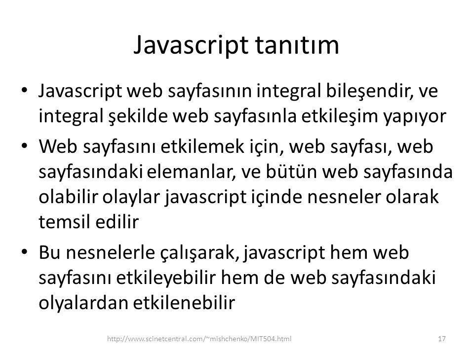 Javascript tanıtım Javascript web sayfasının integral bileşendir, ve integral şekilde web sayfasınla etkileşim yapıyor Web sayfasını etkilemek için, w
