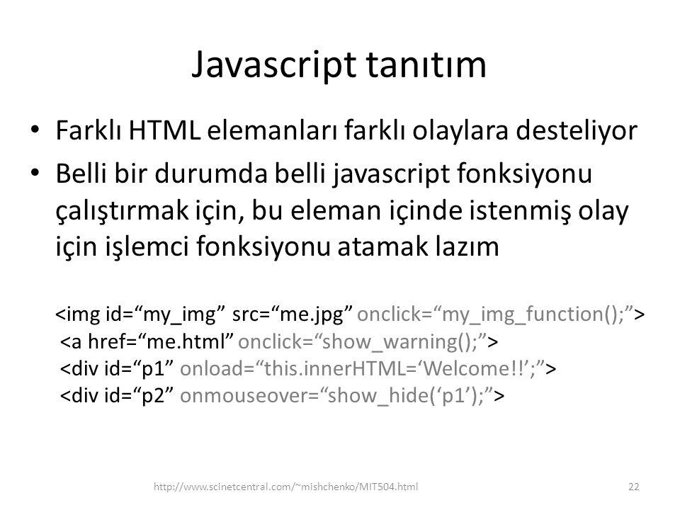 Javascript tanıtım Farklı HTML elemanları farklı olaylara desteliyor Belli bir durumda belli javascript fonksiyonu çalıştırmak için, bu eleman içinde