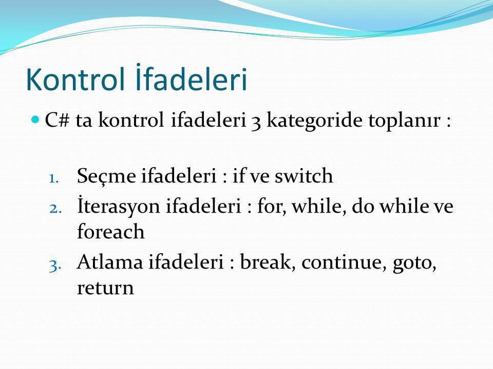 Kontrol İfadeleri C# ta kontrol ifadeleri 3 kategoride toplanır : 1. Seçme ifadeleri : if ve switch 2. İterasyon ifadeleri : for, while, do while ve f