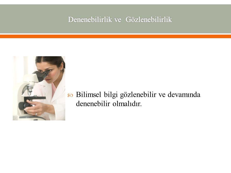 BBilimsel bilgi gözlenebilir ve devamında denenebilir olmalıdır.