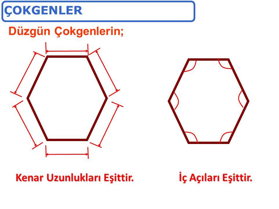 ÇOKGENLER Düzgün Çokgenlerin; Kenar Uzunlukları Eşittir. İç Açıları Eşittir.