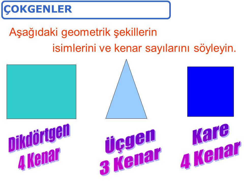 Aşağıdaki geometrik şekillerin isimlerini ve kenar sayılarını söyleyin.
