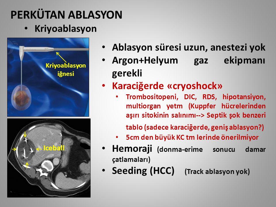PERKÜTAN ABLASYON Kriyoablasyon Ablasyon süresi uzun, anestezi yok Argon+Helyum gaz ekipmanı gerekli Karaciğerde «cryoshock» Trombositopeni, DIC, RDS,