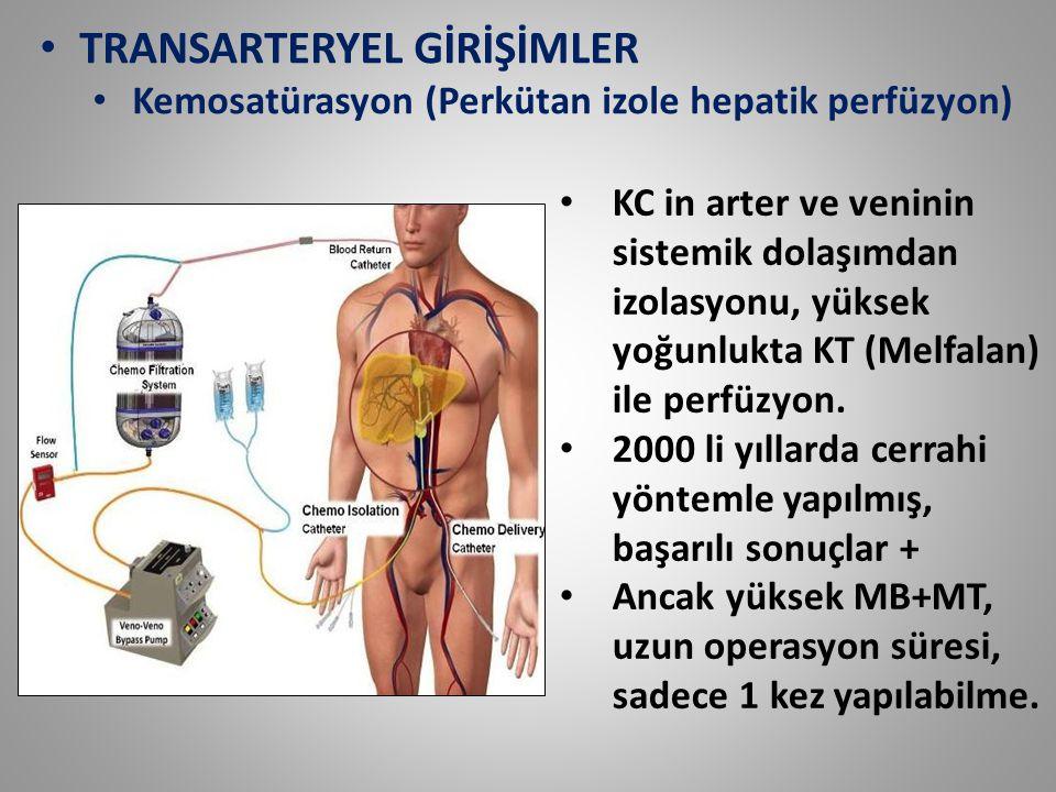 TRANSARTERYEL GİRİŞİMLER Kemosatürasyon (Perkütan izole hepatik perfüzyon) KC in arter ve veninin sistemik dolaşımdan izolasyonu, yüksek yoğunlukta KT