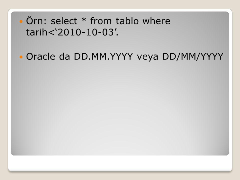 Örn: select * from tablo where tarih<'2010-10-03'. Oracle da DD.MM.YYYY veya DD/MM/YYYY