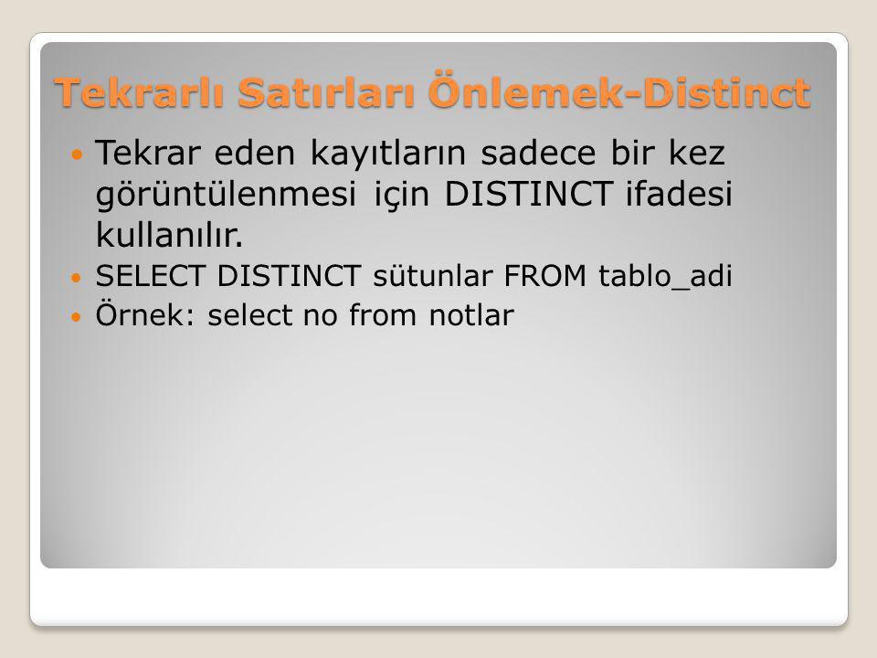 Tekrarlı Satırları Önlemek-Distinct Tekrar eden kayıtların sadece bir kez görüntülenmesi için DISTINCT ifadesi kullanılır. SELECT DISTINCT sütunlar FR