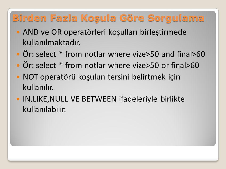 Birden Fazla Koşula Göre Sorgulama AND ve OR operatörleri koşulları birleştirmede kullanılmaktadır. Ör: select * from notlar where vize>50 and final>6
