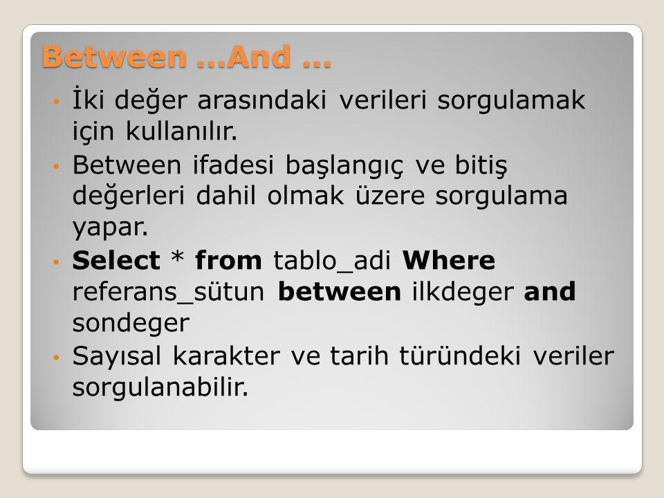 Between …And … İki değer arasındaki verileri sorgulamak için kullanılır. Between ifadesi başlangıç ve bitiş değerleri dahil olmak üzere sorgulama yapa