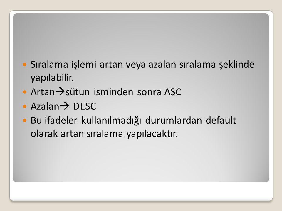 Sıralama işlemi artan veya azalan sıralama şeklinde yapılabilir. Artan  sütun isminden sonra ASC Azalan  DESC Bu ifadeler kullanılmadığı durumlardan