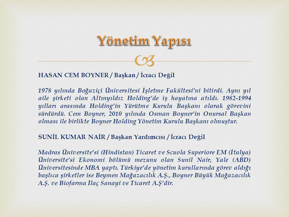  HASAN CEM BOYNER / Başkan / İcracı Değil 1978 yılında Boğaziçi Üniversitesi İşletme Fakültesi'ni bitirdi.