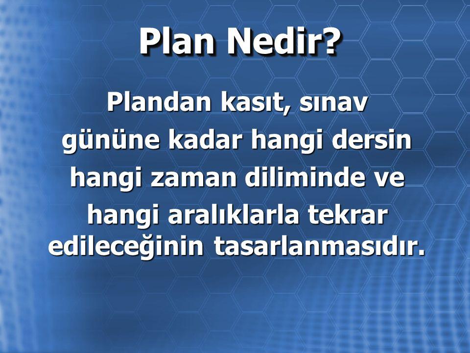 Plan Nedir? Plandan kasıt, sınav gününe kadar hangi dersin hangi zaman diliminde ve hangi aralıklarla tekrar edileceğinin tasarlanmasıdır.