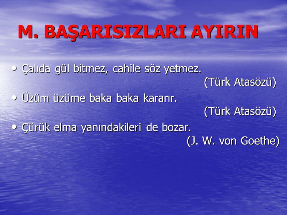 M. BAŞARISIZLARI AYIRIN Çalıda gül bitmez, cahile söz yetmez. (Türk Atasözü) Çalıda gül bitmez, cahile söz yetmez. (Türk Atasözü) Üzüm üzüme baka baka