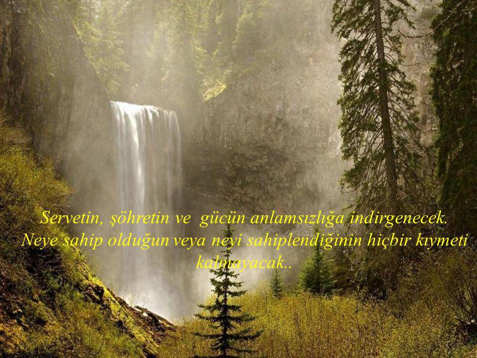 Servetin, şöhretin ve gücün anlamsızlığa indirgenecek.