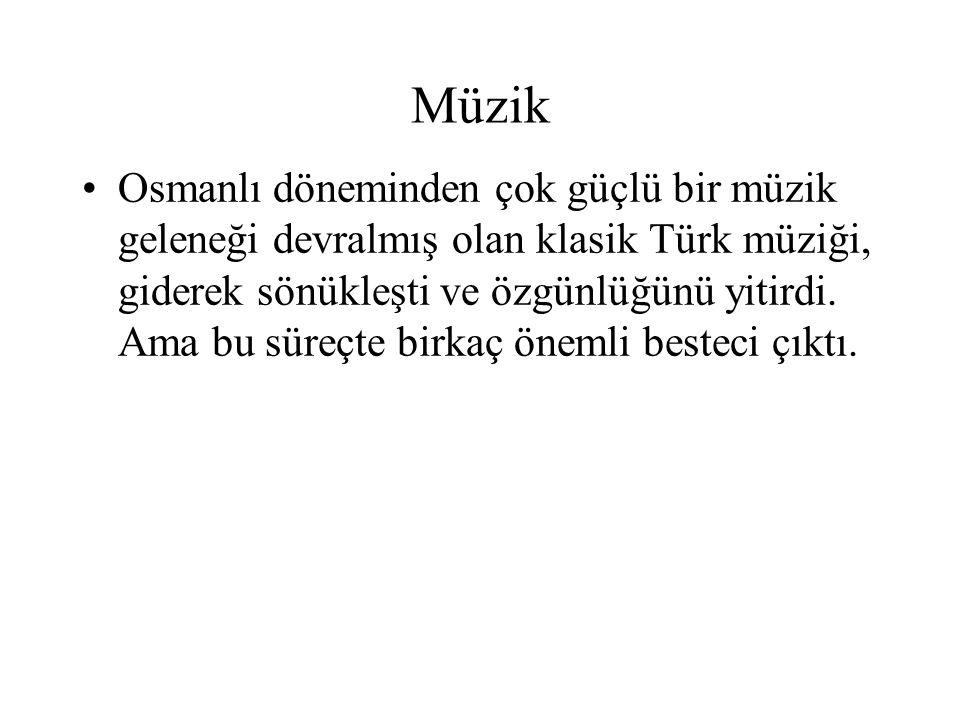 Müzik Osmanlı döneminden çok güçlü bir müzik geleneği devralmış olan klasik Türk müziği, giderek sönükleşti ve özgünlüğünü yitirdi. Ama bu süreçte bir