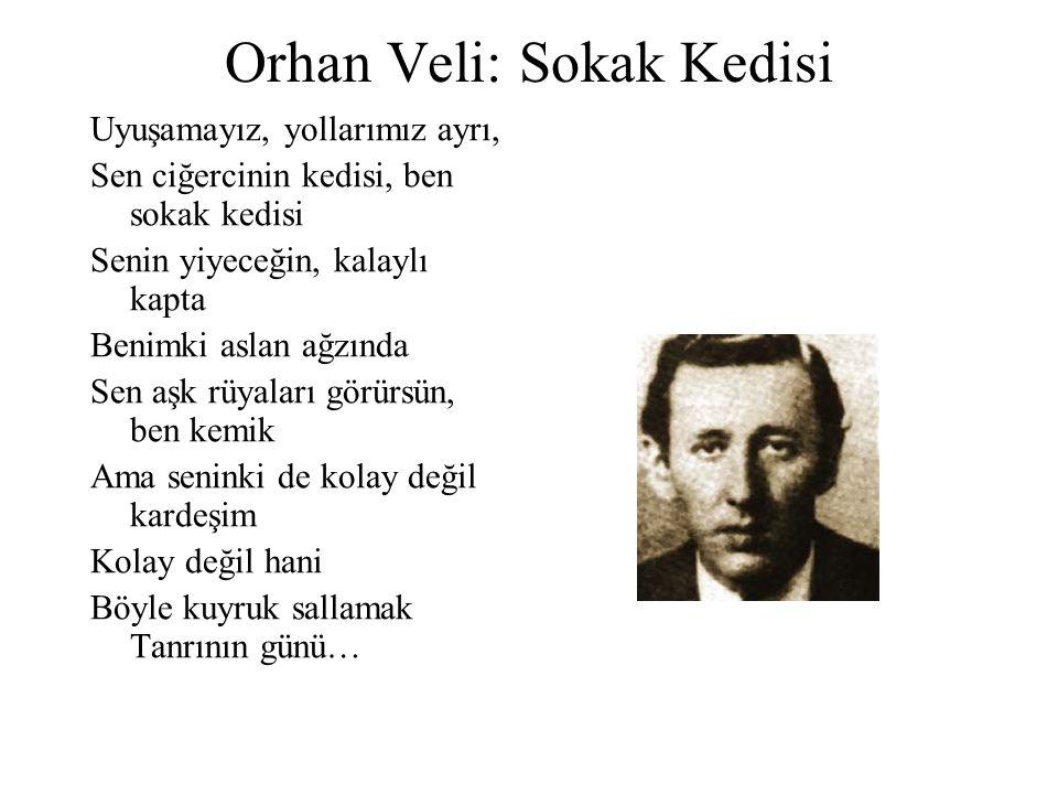 Orhan Veli: Sokak Kedisi Uyuşamayız, yollarımız ayrı, Sen ciğercinin kedisi, ben sokak kedisi Senin yiyeceğin, kalaylı kapta Benimki aslan ağzında Sen