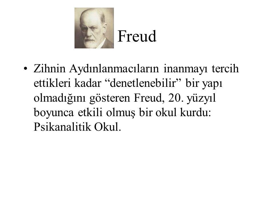 """Freud Zihnin Aydınlanmacıların inanmayı tercih ettikleri kadar """"denetlenebilir"""" bir yapı olmadığını gösteren Freud, 20. yüzyıl boyunca etkili olmuş bi"""