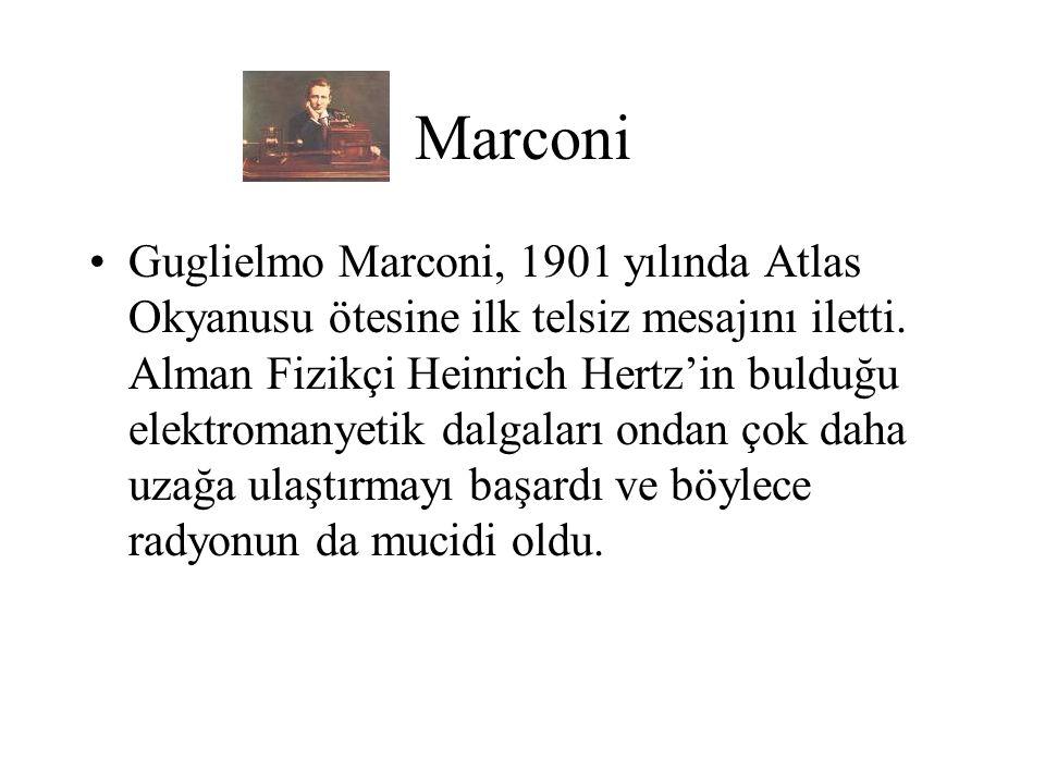 Marconi Guglielmo Marconi, 1901 yılında Atlas Okyanusu ötesine ilk telsiz mesajını iletti. Alman Fizikçi Heinrich Hertz'in bulduğu elektromanyetik dal