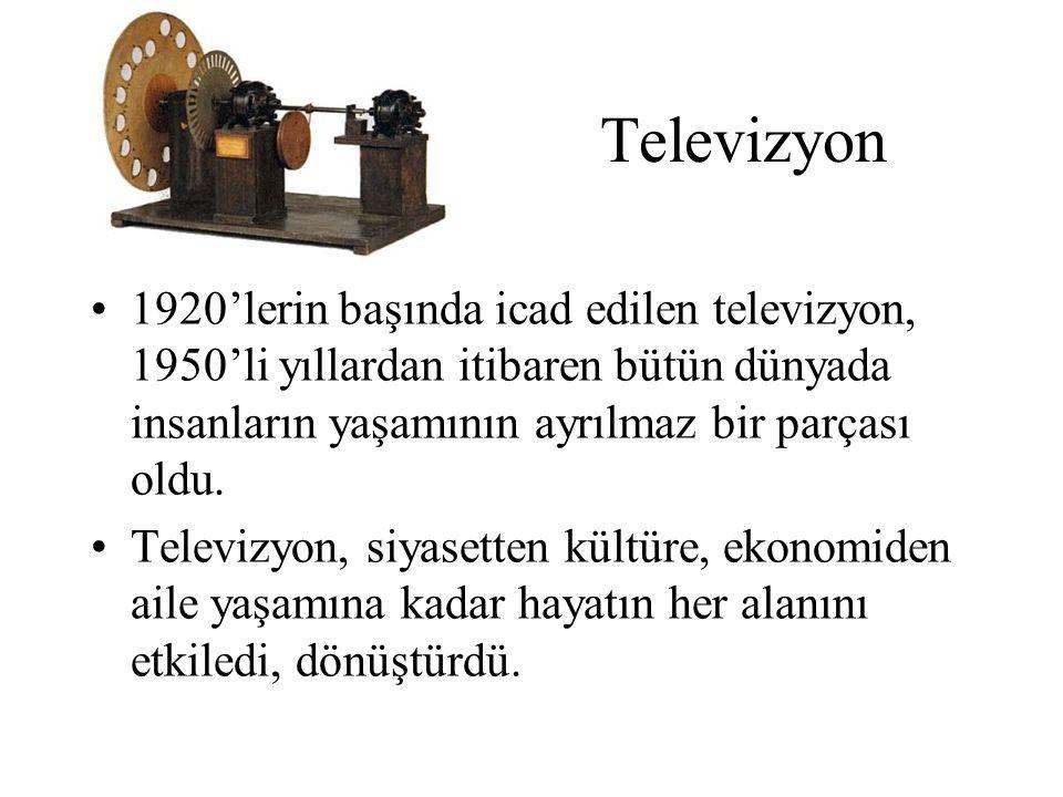 Televizyon 1920'lerin başında icad edilen televizyon, 1950'li yıllardan itibaren bütün dünyada insanların yaşamının ayrılmaz bir parçası oldu. Televiz