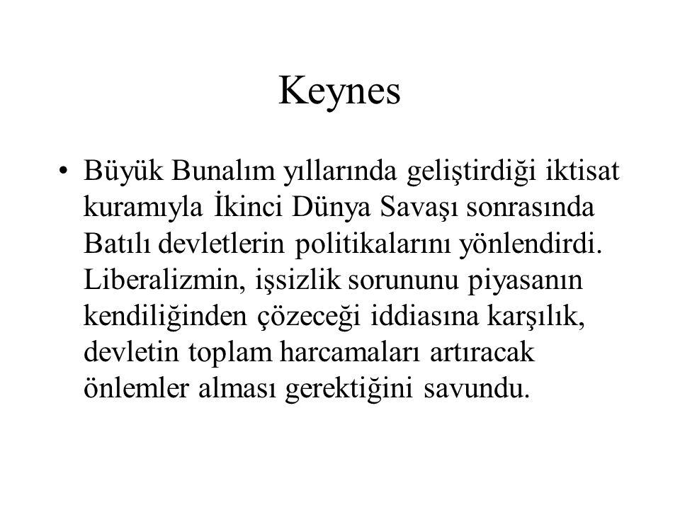 Keynes Büyük Bunalım yıllarında geliştirdiği iktisat kuramıyla İkinci Dünya Savaşı sonrasında Batılı devletlerin politikalarını yönlendirdi. Liberaliz
