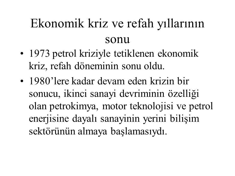 Ekonomik kriz ve refah yıllarının sonu 1973 petrol kriziyle tetiklenen ekonomik kriz, refah döneminin sonu oldu. 1980'lere kadar devam eden krizin bir