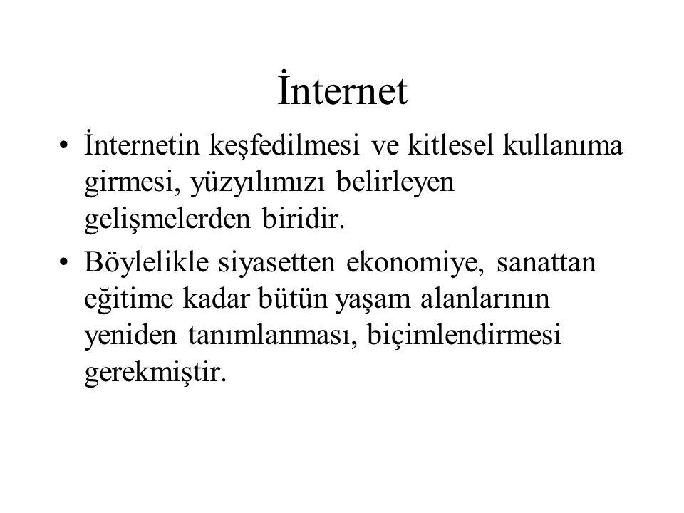 İnternet İnternetin keşfedilmesi ve kitlesel kullanıma girmesi, yüzyılımızı belirleyen gelişmelerden biridir. Böylelikle siyasetten ekonomiye, sanatta