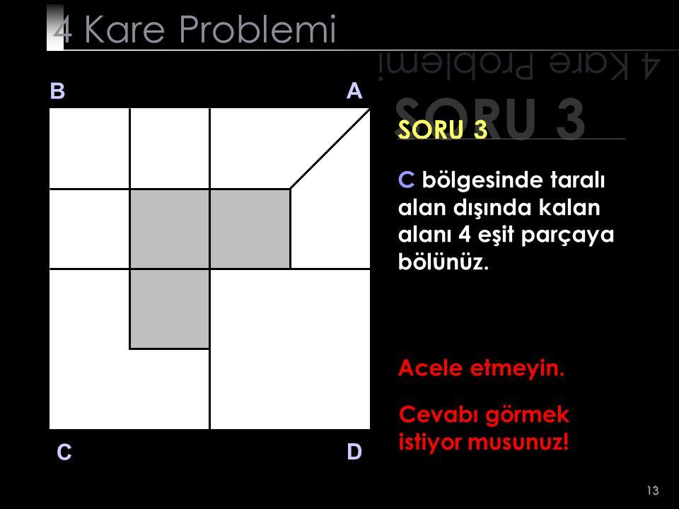 13 SORU 3 4 Kare Problemi B A D C SORU 3 Acele etmeyin. Cevabı görmek istiyor musunuz! C bölgesinde taralı alan dışında kalan alanı 4 eşit parçaya böl
