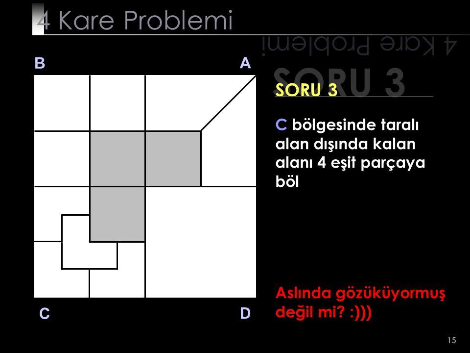 15 Aslında gözüküyormuş değil mi? :))) SORU 3 4 Kare Problemi B A D C SORU 3 C bölgesinde taralı alan dışında kalan alanı 4 eşit parçaya böl