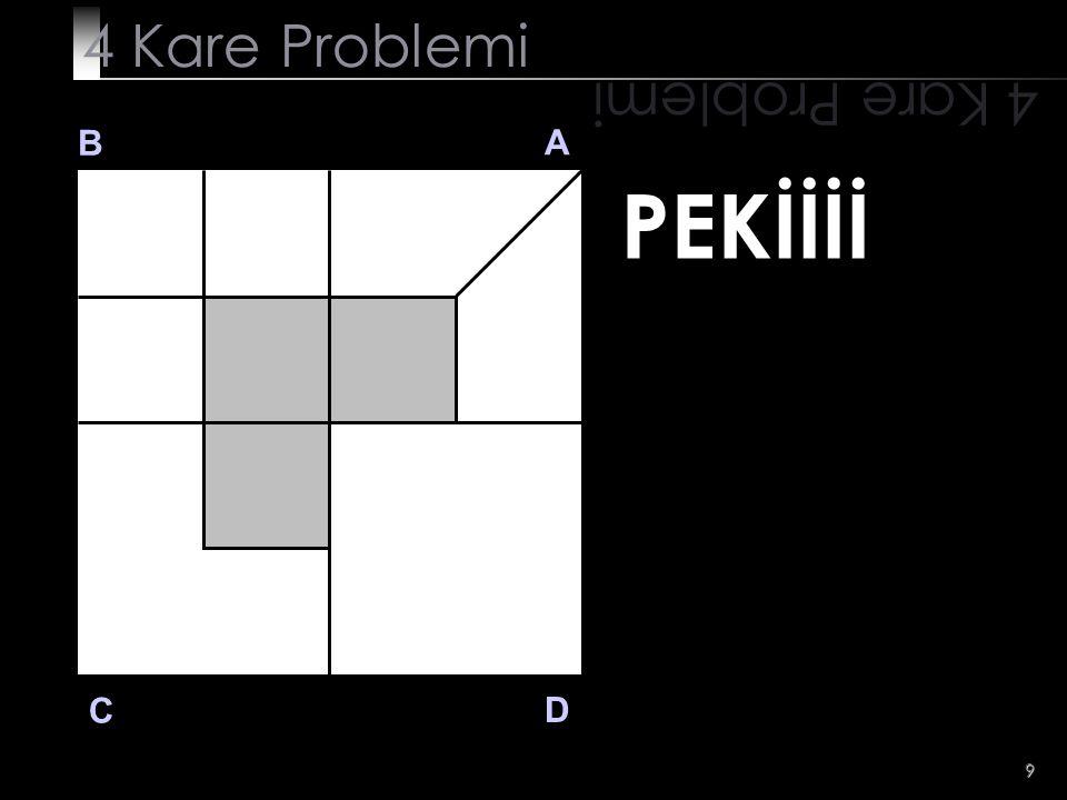 10 SORU 3 4 Kare Problemi B A D C SORU 3 C bölgesinde taralı alan dışında kalan alanı 4 eşit parçaya bölünüz.