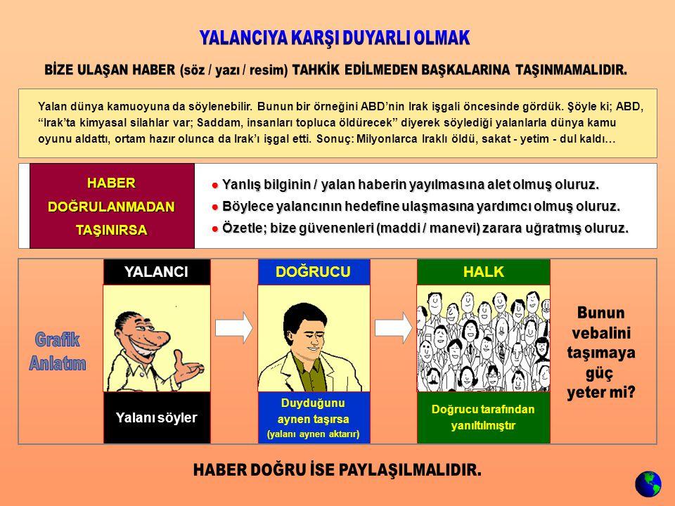 ● Yanlış bilginin / yalan haberin yayılmasına alet olmuş oluruz. ● Böylece yalancının hedefine ulaşmasına yardımcı olmuş oluruz. ● Özetle; bize güvene