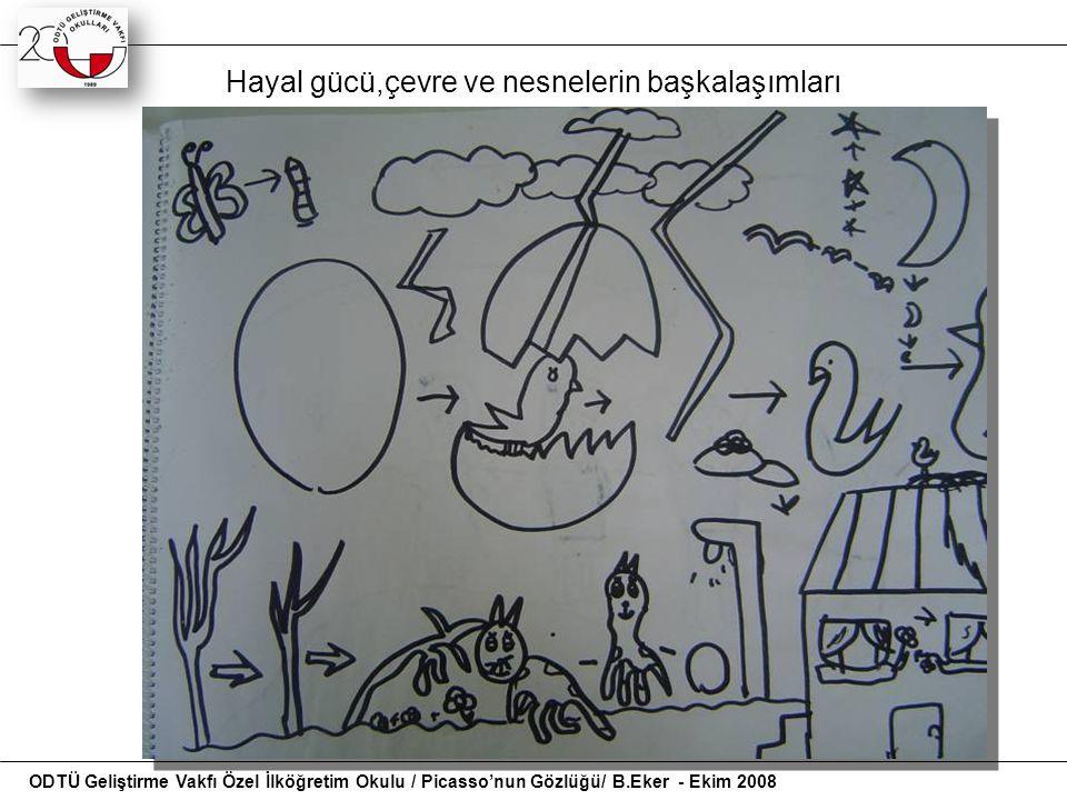 Hayal gücü,çevre ve nesnelerin başkalaşımları ODTÜ Geliştirme Vakfı Özel İlköğretim Okulu / Picasso'nun Gözlüğü/ B.Eker - Ekim 2008