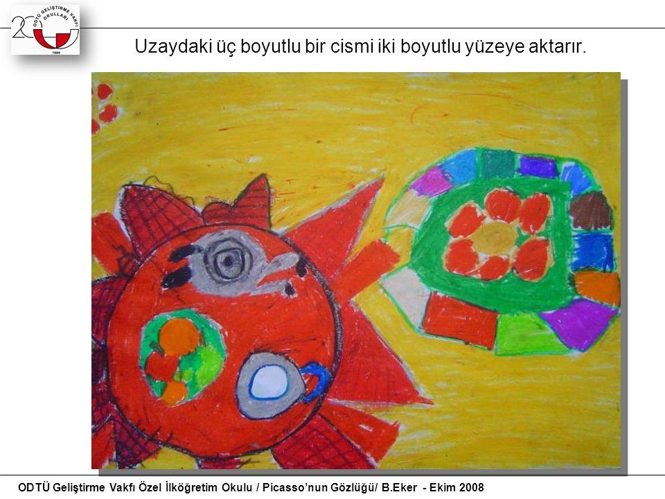 Uzaydaki üç boyutlu bir cismi iki boyutlu yüzeye aktarır. ODTÜ Geliştirme Vakfı Özel İlköğretim Okulu / Picasso'nun Gözlüğü/ B.Eker - Ekim 2008