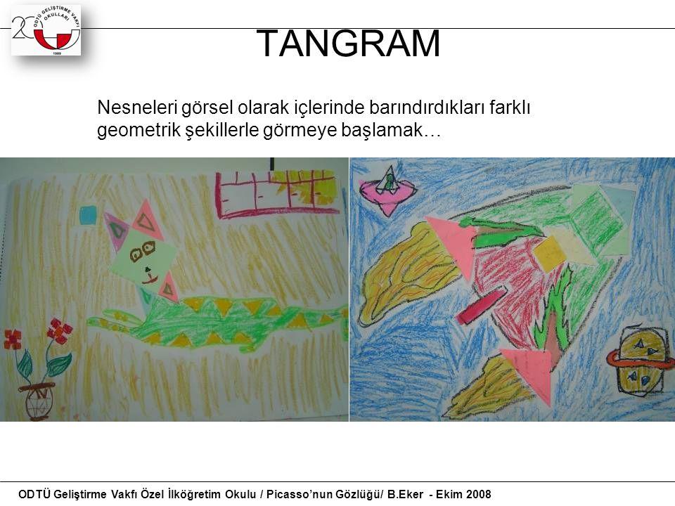 PİCASSO'NUN GÖZLÜĞÜ Bir kompozisyon: natürmort Tangram ve başkalaşım birleşiyor…… ODTÜ Geliştirme Vakfı Özel İlköğretim Okulu / Picasso'nun Gözlüğü/ B.Eker - Ekim 2008