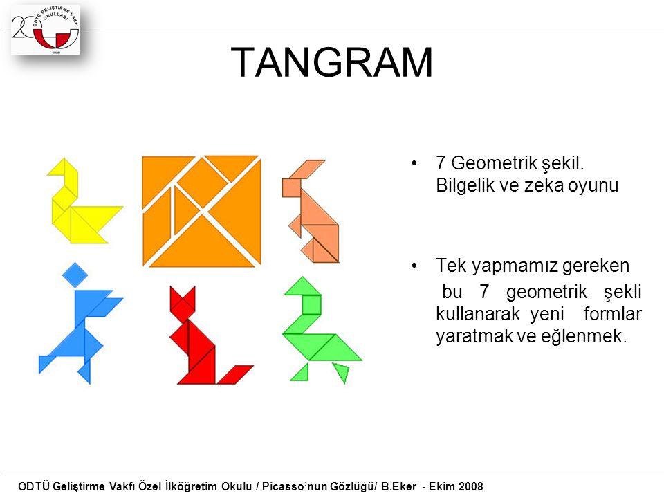 TANGRAM 7 Geometrik şekil. Bilgelik ve zeka oyunu Tek yapmamız gereken bu 7 geometrik şekli kullanarak yeni formlar yaratmak ve eğlenmek. ODTÜ Gelişti