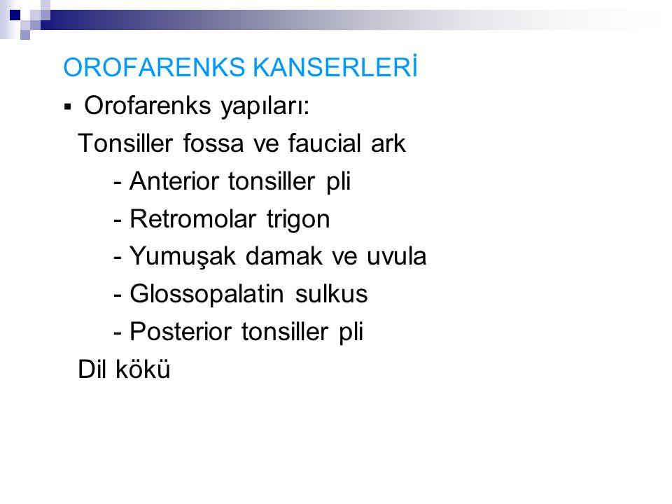 OROFARENKS KANSERLERİ  Orofarenks yapıları: Tonsiller fossa ve faucial ark - Anterior tonsiller pli - Retromolar trigon - Yumuşak damak ve uvula - Glossopalatin sulkus - Posterior tonsiller pli Dil kökü