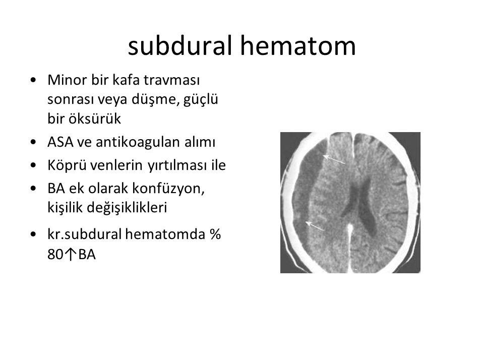 subdural hematom Minor bir kafa travması sonrası veya düşme, güçlü bir öksürük ASA ve antikoagulan alımı Köprü venlerin yırtılması ile BA ek olarak ko