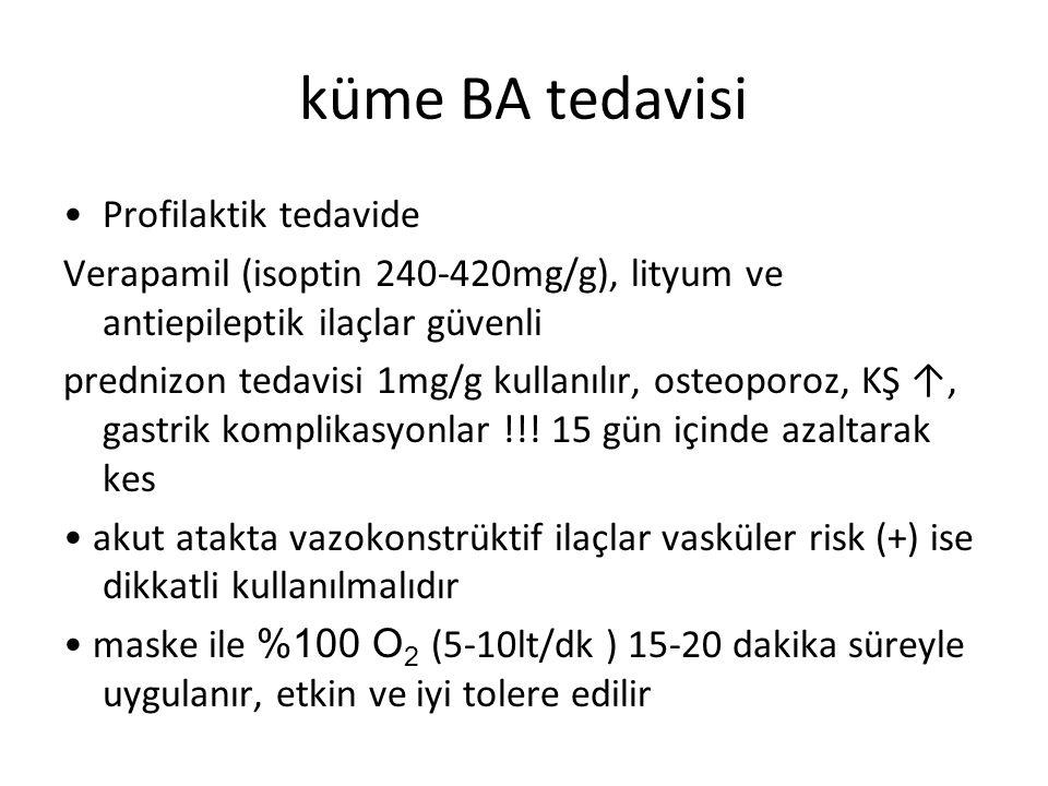 küme BA tedavisi Profilaktik tedavide Verapamil (isoptin 240-420mg/g), lityum ve antiepileptik ilaçlar güvenli prednizon tedavisi 1mg/g kullanılır, os