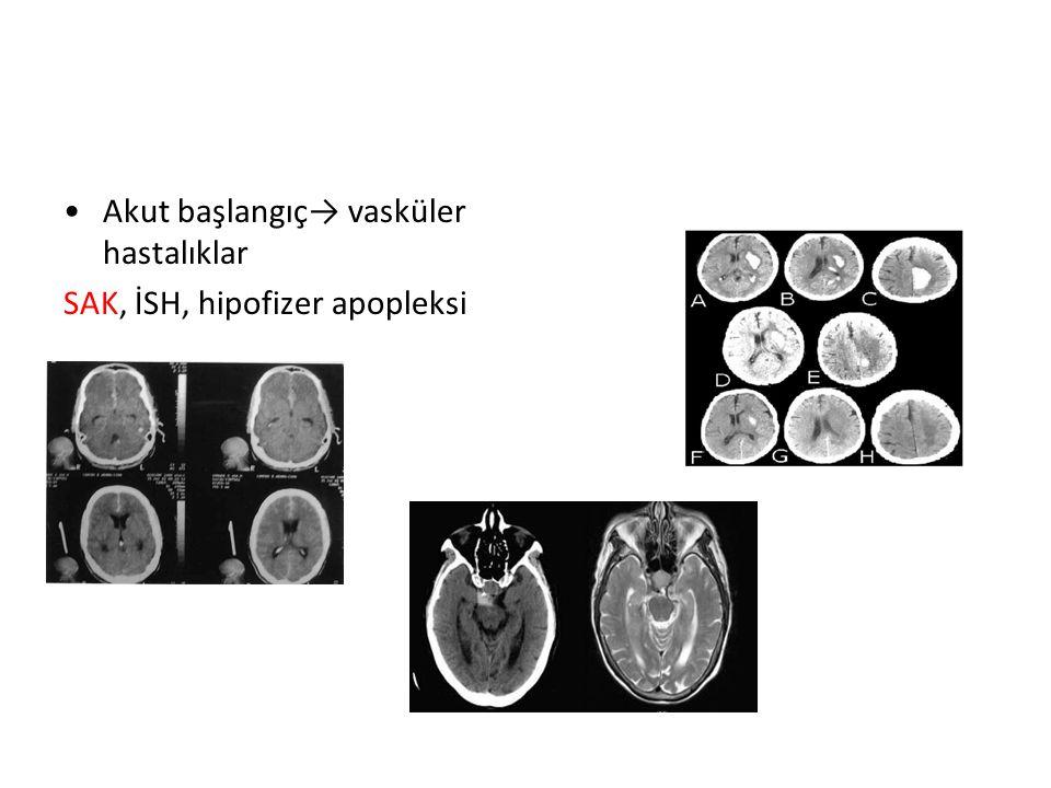 Akut başlangıç→ vasküler hastalıklar SAK, İSH, hipofizer apopleksi