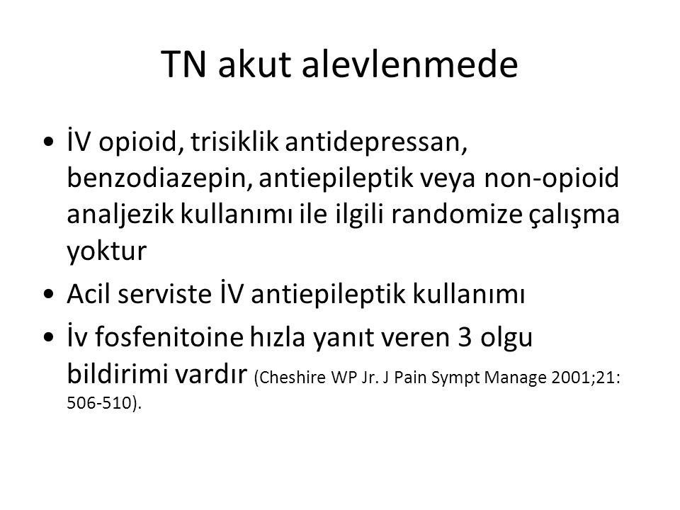 TN akut alevlenmede İV opioid, trisiklik antidepressan, benzodiazepin, antiepileptik veya non-opioid analjezik kullanımı ile ilgili randomize çalışma