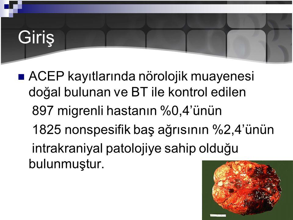 Giriş ACEP kayıtlarında nörolojik muayenesi doğal bulunan ve BT ile kontrol edilen 897 migrenli hastanın %0,4'ünün 1825 nonspesifik baş ağrısının %2,4'ünün intrakraniyal patolojiye sahip olduğu bulunmuştur.
