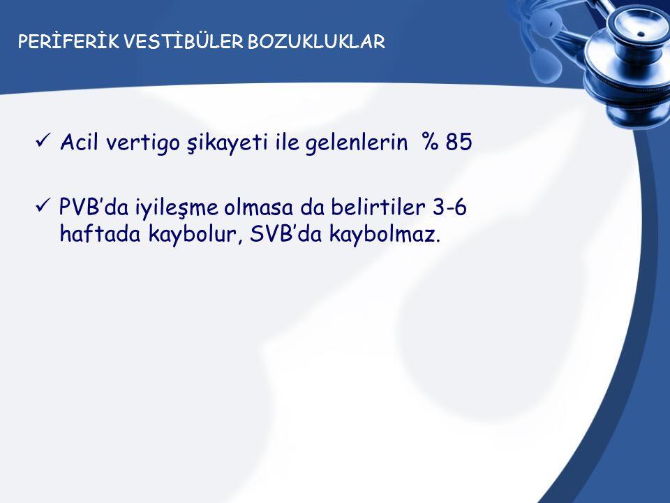 PERİFERİK VESTİBÜLER BOZUKLUKLAR Acil vertigo şikayeti ile gelenlerin % 85 PVB'da iyileşme olmasa da belirtiler 3-6 haftada kaybolur, SVB'da kaybolmaz