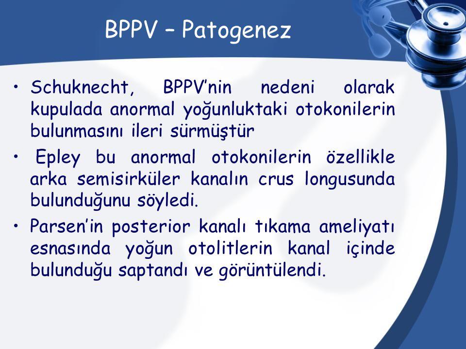 BPPV – Patogenez Schuknecht, BPPV'nin nedeni olarak kupulada anormal yoğunluktaki otokonilerin bulunmasını ileri sürmüştür Epley bu anormal otokoniler