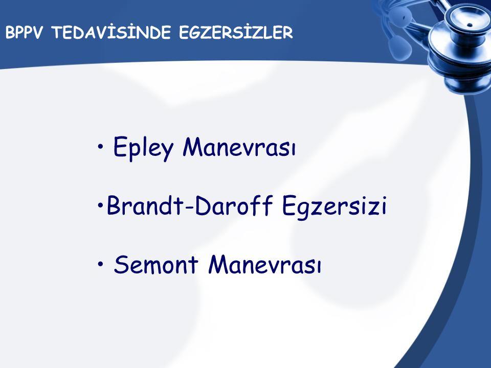 BPPV TEDAVİSİNDE EGZERSİZLER Epley Manevrası Brandt-Daroff Egzersizi Semont Manevrası