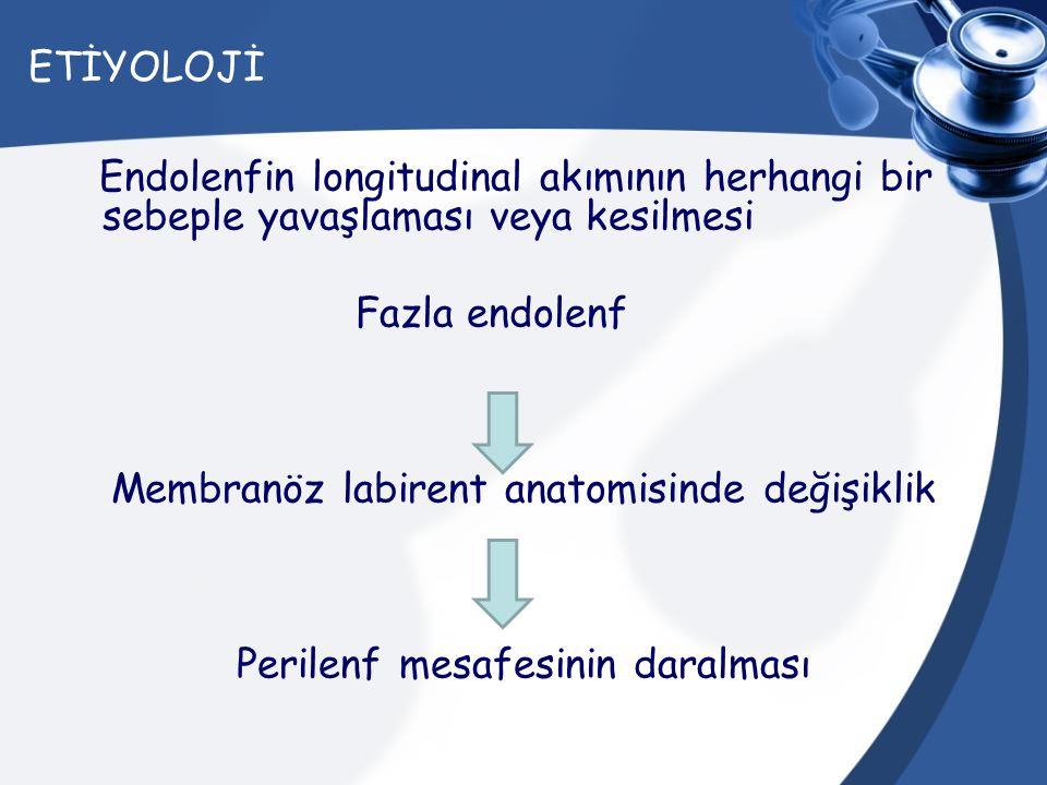 ETİYOLOJİ Endolenfin longitudinal akımının herhangi bir sebeple yavaşlaması veya kesilmesi Fazla endolenf Membranöz labirent anatomisinde değişiklik P