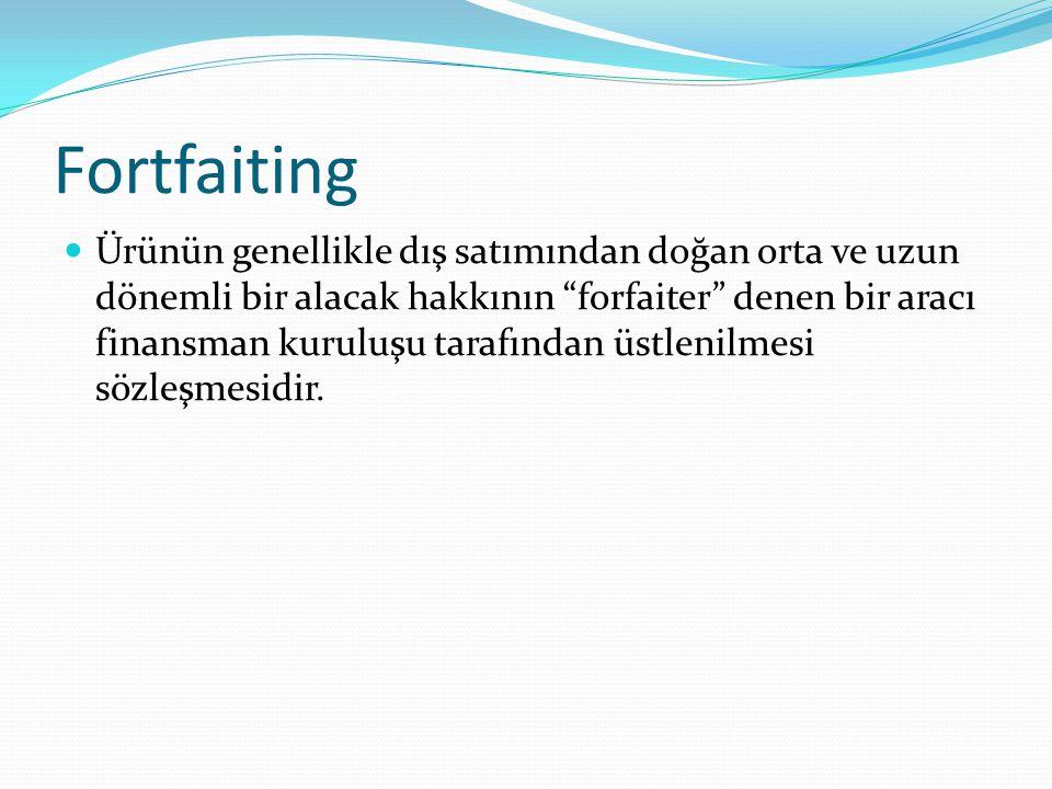 Fortfaiting Ürünün genellikle dış satımından doğan orta ve uzun dönemli bir alacak hakkının forfaiter denen bir aracı finansman kuruluşu tarafından üstlenilmesi sözleşmesidir.