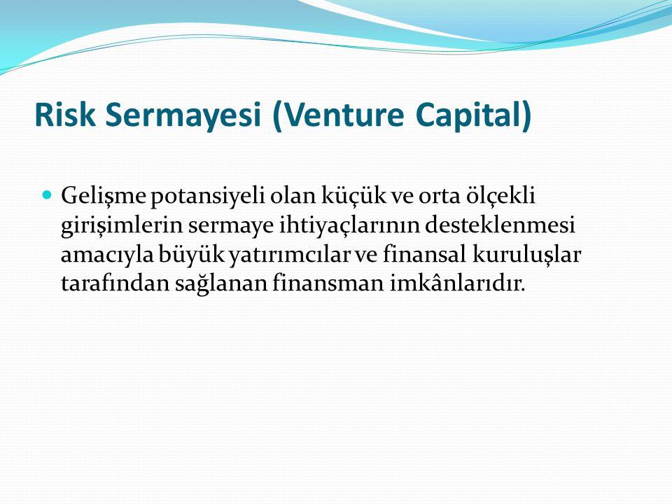 Risk Sermayesi (Venture Capital) Gelişme potansiyeli olan küçük ve orta ölçekli girişimlerin sermaye ihtiyaçlarının desteklenmesi amacıyla büyük yatırımcılar ve finansal kuruluşlar tarafından sağlanan finansman imkânlarıdır.